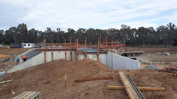 Building A (AFL & Cricket) progress and preparation for first floor slab pour