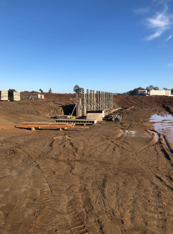 RSH Soccer pitch retaining wall Early May 2020