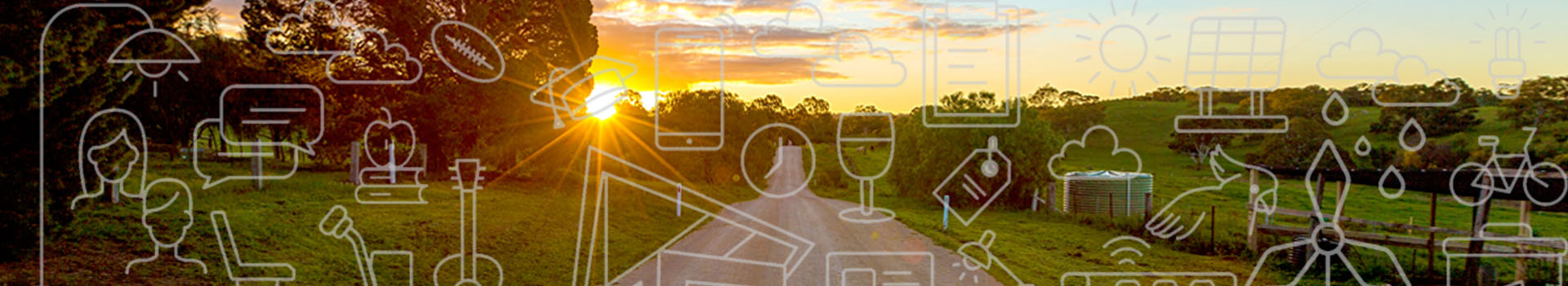 Sunset rural image with graphics for Community Plan 2020-2035