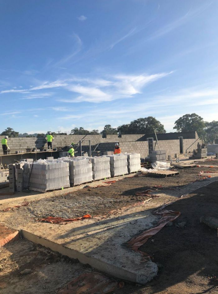 RSH soccer building ground floor block work Early May 2020