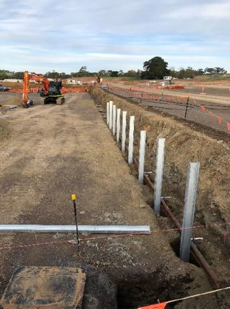RSH lower carparksoccer pitch retaining walls under construction Early May 2020