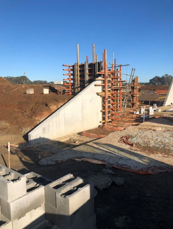 RSH soccer building - players race and plant room formwork Early May 2020